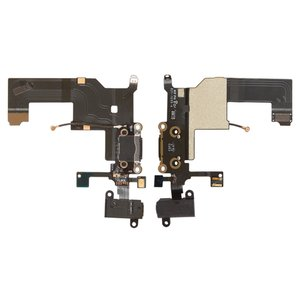 Flat Cable Apple iPhone 5, (headphone connector, charge connector, black, with microphone, with components)