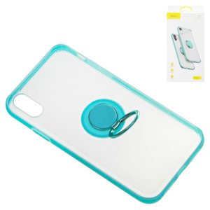Case Baseus compatible with iPhone XR, (blue, with ring holder, transparent, plastic) #WIAPIPH61-YD03