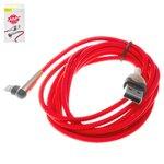 Cable USB Baseus, USB tipo-A, Lightning, 200 cm, rojo, para cargar el teléfono, en forma de L, con revestimiento de nylon, con indicador, 1.5A, #CALMVP-E09