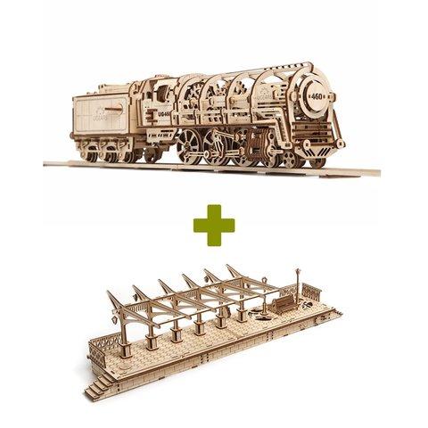 Механический 3D-пазл UGEARS Набор 2 в 1: Локомотив + Перрон